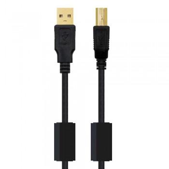 CABLE USB 2.0 IMPRESORA HQ CON FERRITA, TIPO A/M-B/M, NEGRO, 4.0 M