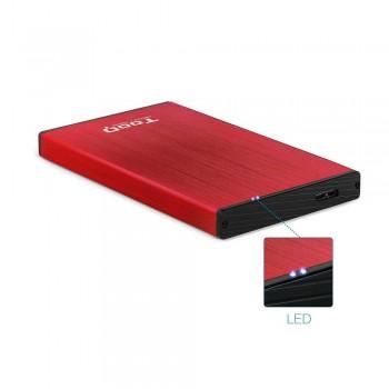 CAJA EXTERNA TOOQ TQE-2527R 2,5 9,5 MM SATA USB 3.0/3.1 GEN1 ROJA